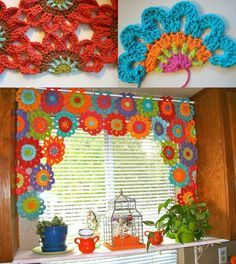 Add some colorful handmade charm to your home decor with this crocheted flower window valance tutorial! Crochet Curtain Pattern, Crochet Curtains, Curtain Patterns, Valance Curtains, Crochet Motifs, Crochet Granny, Knit Crochet, Crochet Patterns, Crochet Kitchen