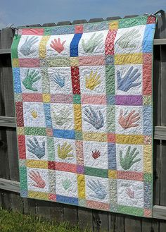 stella birthday quilt: a fun use of handprints