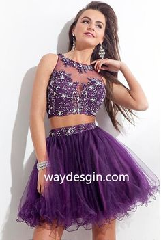 2015 Purple Silver Beaded Cheap Tulle Two Piece Prom Homecoming Dress Gowns Short Prom Dresses With Crystals