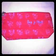 New! Lancome makeup bag Paris-inspired trendy red bag with pink rose designs Lancome Bags Cosmetic Bags & Cases