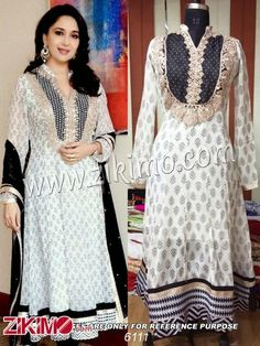 Madhuri dixit White and Black Georgette Anarkali Suits