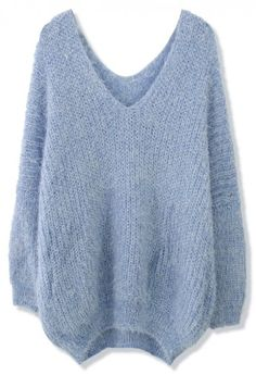 Chicwish V-Neck Fluffy Oversize Sweater in Blue