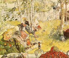 Summer Day, crayfishing, Carl Larsson