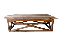 Barn Door Coffee Table Chairish.com Dimensions 65.75ʺW × 35.5ʺD × 18.0ʺH An antique wooden barn door has been repurposed into a custom one-of-a-kind generously sized cocktail table. The x-base is constructed of local reclaimed wood. We love the arched top of the door since it gives this table such a graceful and unique shape. Don't be afraid to put y