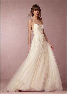 Encaje Fabuloso y tul escote spaghetti straps vestidos de boda del A-line