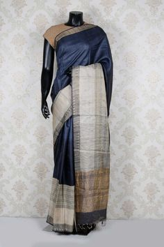Dark #grey  pure #tussar #silk alluring saree with beige & grey border -SR13966