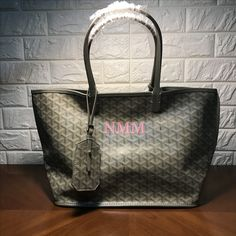 f746174b82ce Goyard shopping tote bag reversible style light gray with initials printing