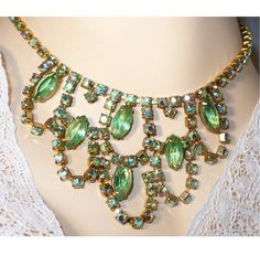 """How do you say """"Strapless Gown""""!!??!! Well, then here's the perfect, Stunning, Runway Drop / Bib Necklace: Aurora Borealis (AB) Rhinestones + Green Marquise Open Back Rhinestones. AMAZING BLING! by MarlosMarvelousFinds,"""