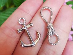 Silver Tone Anchor and Rope Metal Toggle Clasp by MiamiCharmStore on Etsy