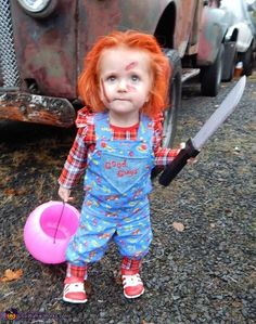 Andrea Paisley Jean is wearing her homemade (by my talented mother) Chucky costume  sc 1 st  Pinterest & Awesome Chucky Costume for a 2 Year Old Boy | Pinterest | Chucky ...