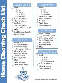 Free Printable Household Cleaning Checklist to clean your entire home. Create a cleaning schedule for your house that works for you. Home cleaning checklist. #printable #home #cleaning #checklist