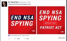 Rand Paul on Facebook Nsa Spying, Rand Paul, Political Ads, Acting, Campaign, Politics, Facebook