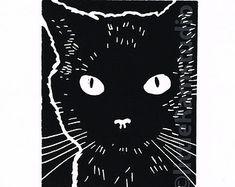 linocut cats - Google Search