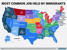 """""""The Most Common Job Held by Immigrants in Each State"""" #jobs #work #immigration"""