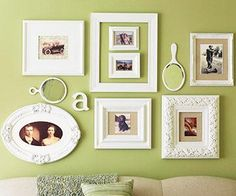 A mismatched assortment of frames — different sizes, shapes and weights -- unified with a coat of white paint make for an eye-catching arrangement. Unexpected elements add whimsy. ... And what if the frames were gold and not so thick?