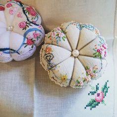 #Embroidery#stitch#needlework  #프랑스자수#일산프랑스자수#자수#호박핀쿠션 #따끈따끈한 호박 핀쿠션 ~