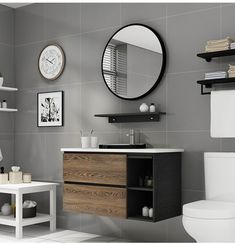 wall mounted bathroom vanity cabinet with round iron mirror, shelf, recessed wash basin
