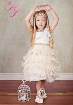 Ethereal Elegance Girls Feather Apron Dress Turning my nieces into feather throwing flappers. Gatsby Flower Girl Dress, Flower Girl Tutu, Feather Dress, Flower Girl Dresses, Flower Girls, Great Gatsby Wedding, 1920s Wedding, Art Deco Wedding, Wedding Night