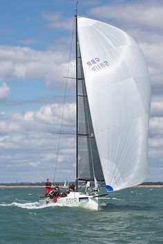 The J/111 yacht 'Jeez Louise' racing during Cowes Week 2013.