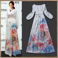 Floral Sleeved Chiffon Maxi  |  New Fashion 2014 High Quality Women's Cute Charming Print Long Sleeve Silk Celebrity Party Maxi Long Dress-inDresses from Apparel & Accessor... | tags: hijab, hijab style, hijab fashion