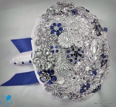 Royal Blue Crystal Brooch Bouquet  by Blue Petyl  by BluePetyl, $399.00