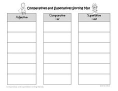 Free! Comparatives and Superlatives Common Core sorting Activity....14 pages