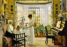 Paul-Gustave Fischer (Danish, 1860 - 1934) - Afternoon tea, 1914