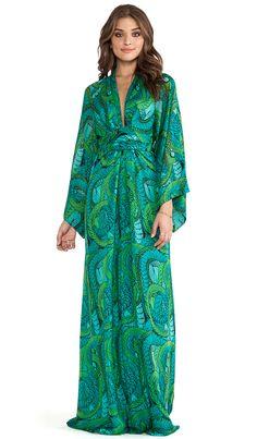 <3 this long sleeve emerald maxi dress