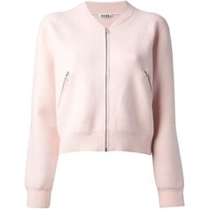 ACNE cropped varsity jacket (1.195 BRL) ❤ liked on Polyvore featuring outerwear, jackets, coats & jackets, coats, tops, pink varsity jacket, varsity bomber jacket, letterman jacket, pink cropped jacket and varsity style jacket