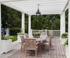 Add a Roof, a #pergola can do double duty to your #deck, besides privacy, it adds architectural interest.