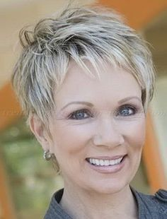 Great pixie haircut for women over 50 with short thick hair! Razor … Great pixie haircut for women over 50 with short thick hair! Short Grey Hair, Short Hairstyles For Thick Hair, Mom Hairstyles, Very Short Hair, Hairstyles Over 50, Short Pixie Haircuts, Short Hairstyles For Women, Hairstyle Ideas, Grey Hairstyle