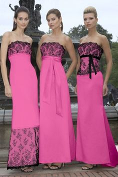 black and pink bridesmaid dress like the different styles