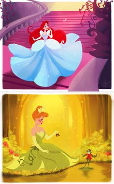 Ariel as Cinderella and Cinderella as Tiana. Posted on tumblr.com by dylanbonner.