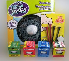 GOLF PRANK KIT..... Just what the doctor ordered for that boring golf game. Four different trick golf balls with trick tees and a little something for that terrible golfers car window. The golf pranksters ultimate gag kit. (www.theonestopfunshop.com)