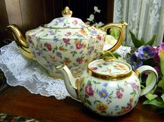 Gorgeous Vintage Sadler Chintz Wildflowers on Butter Background Plus Baby Teapot Tea Pots  9252. $155.00, via Etsy.
