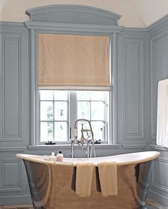 Silver bathtub with blue french style paneling
