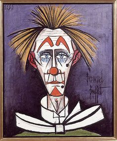 Clown on Blue Background, a 1985 oil on canvas by Bernard Buffet (French exhibited in 2004 at Galerie Rienzo in New York: Bernard Buffet: 40 Years of Clowns. Clown Cirque, Le Clown, The Crow, Theme Carnaval, Ernst Ludwig Kirchner, Send In The Clowns, Magazine Art, Blue Backgrounds, Artist At Work