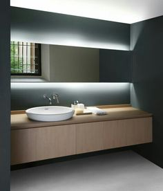 Lavabo Light Bathroom, Bathroom Modern, Bathroom Mirror Lights, Modern  Bathroom Inspiration, Bathroom