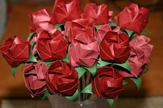 24 Origami Roses Red & Bloom.Handmade.Paper flowers.Origami flowers.Paper roses.Gift for her.Valentines.Birthday.Mother's Day.Wedding Decor