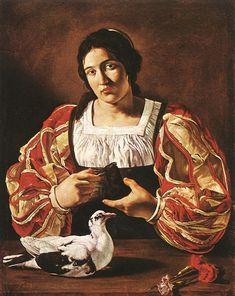 1610's Spain - CECCO DEL CARAVAGGIO Woman with a Dove 1610s Oil on canvas, 66 x…