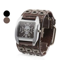 menns skull stil skinn analog kvarts armbåndsur (svart) – NOK kr. 60