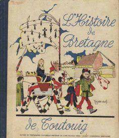 """""""L'histoire de Bretagne"""" pour les enfants illustrée par Félix-Pol Jobbé Duval, O lo lé, 1944.  Anne de Bretagne est en couverture sur un cheval de bois http://www.bd-nostalgie.org/DIVERS/02_auteurs_Jobb%E9-Duval.htm"""