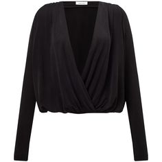 Samsoe & Samsoe Trinny V-Neck Blouse, Black (185 CAD) ❤ liked on Polyvore featuring tops, blouses, drapey top, draped v neck top, cross front top, long sleeve blouse and draped blouse