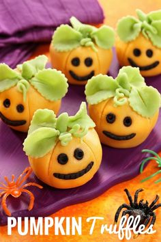 These Pumpkin Truffles are so cute and so fun to make! Made with chocolate cake, they're covered in marzipan (or fondant) and modeled to look like little carved pumpkins - adorable! Halloween Desserts, Halloween Food For Party, Party Desserts, Party Treats, Easy Halloween, Halloween Treats, Halloween Pumpkins, Pumpkin Truffles, Purple Pumpkin