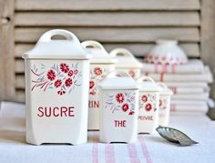 vintage french kitchen canisters  set of 6 by petitsdetails, €149.00