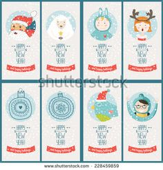 Vector christmas cards collection, with santa claus, cute bird, sheep, girl, boy and balls. Vector illustration Merry christmas and Happy new year with snowflakes background