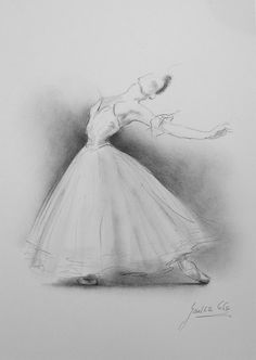 Dibujo 12 x 8 sobre papel blanco de la bailarina por por EwaGawlik