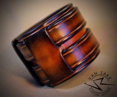 Leather Cuff Bracelet Wristband Saddle Tan Burst by VanZakkLeather