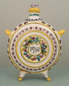 czech decorative items | Vintage Czech Country Ceramic Decorative Flask 1950 : Lot 649621