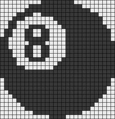 Eight Ball billiard perler bead pattern